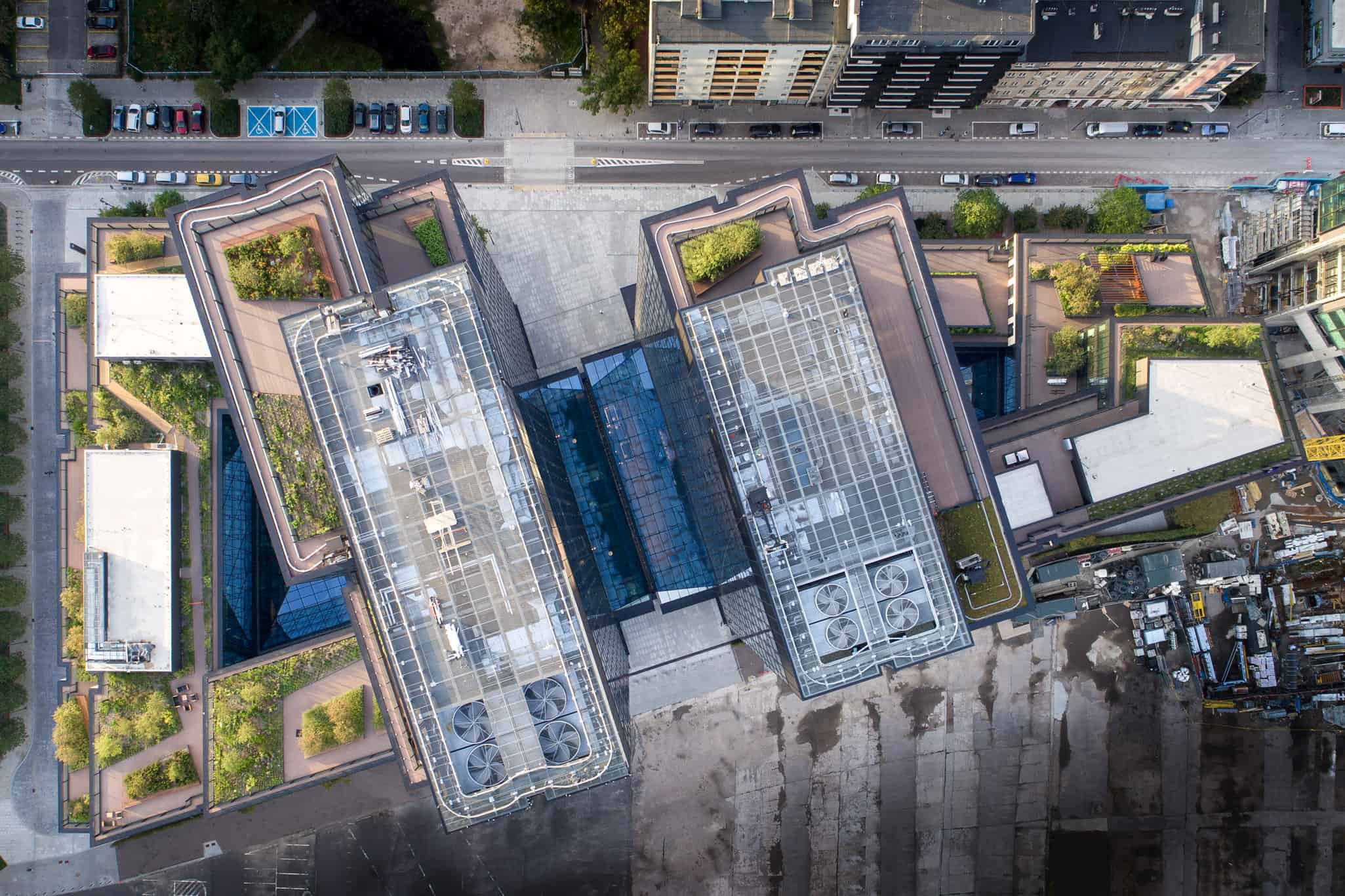 view of green roofs and skylights of Varso